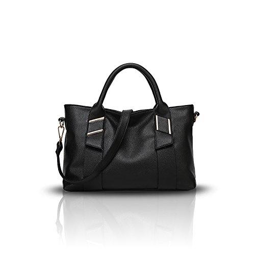 Sunas Portafogli trasversali del sacchetto del messaggero della spalla di cuoio molle casuale della borsa delle donne di modo nero