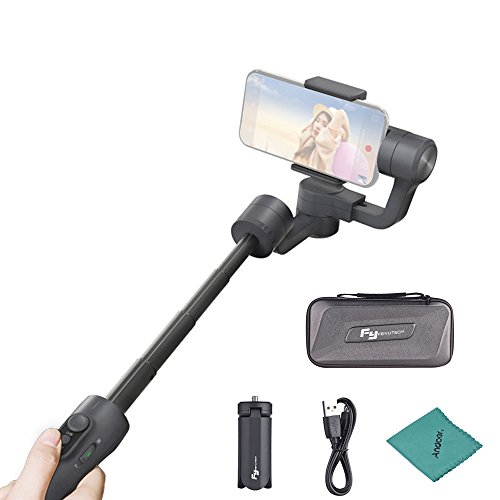 FeiyuTech Vimble 2 - Gimbal de mano estabilizado de 3 ejes y barra a prueba de salpicaduras telescópica para teléfono móvil, estabilizador de vídeo con gamuza de limpieza Andoer