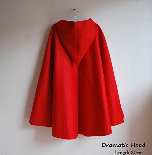 Red Hood Kostüme Halloween (Rotkäppchen-Umhang Hochwertige Weiche Wolle und Filz Erwachsenen-Kostüm [Dramatischer Stil; Umhang mit Kapuze] [mit)