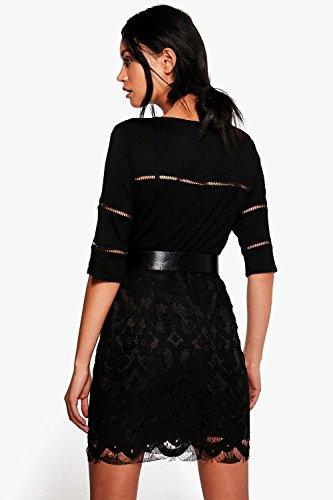 Noir Femmes Helen T-shirt Manches Courtes À Empiècements En Dentelle Noir