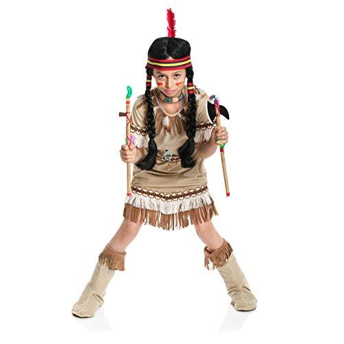Kostümplanet® Indianerin Kostüm Kinder Indianer Kostüm Mädchen Indianerkostüm Indianerinkostüm Größe 128