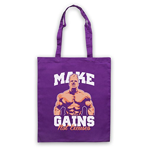 Make Gains Not Excuses Bodybuilding Workout Slogan Umhangetaschen Violett