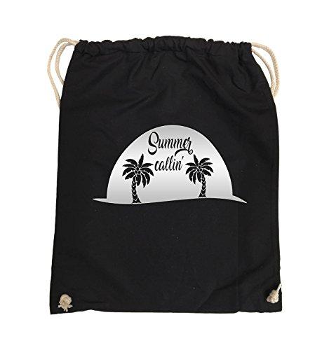 Comedy Bags - Summer callin - PALMEN - Turnbeutel - 37x46cm - Farbe: Schwarz / Pink Schwarz / Silber