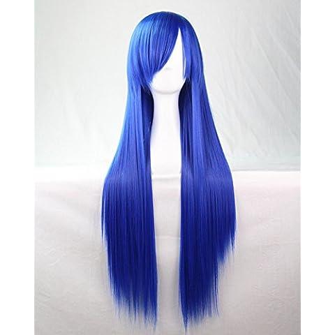 Mujeres Ladies Girls 80cm Azul marino color larga recta pelucas de alta calidad Carve pelo del partido de Cosplay del Anime del traje Bangs completa Sexy Pelucas