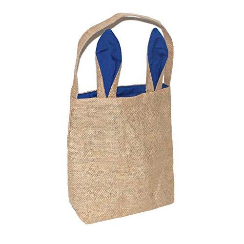 Ankamal Elec Osterhase Tasche Osterhasen Taschen Osterkorb Jute Sackleinen Bunny Taschen Hase Geschenk Tasche 3D Hasenohren Tasche Baumwolle Leinen Party Tasche Ostern Candy Tote(25 x 30 cm) (Blau)