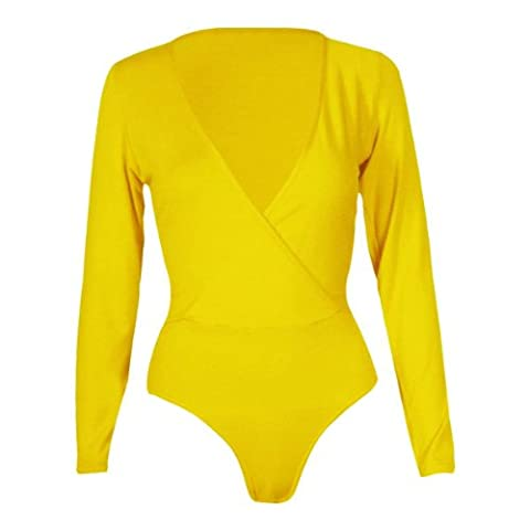 New Womens Plus Size Wrap Over Bodysuits Leotard Tops 8-22 ( Yellow , UK 12-14 / EU 40-42 )