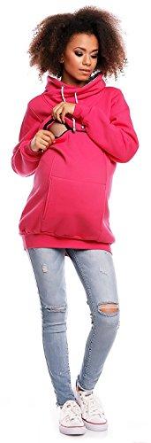 Zeta Ville - Damen Diskretes Still-Sweatshirt Top Reißverschluss Öffnung - 354c Fuchsie