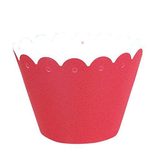remeehi Halloween Cupcake Pappbecher Runde Backform DIY Fondant Muffin Formen Patisserie Backform Hochzeit Candy Boxen zusammenklappbar DIY Fall Geschenk-Box Party Supplies Sweetbox rot 5 Stück