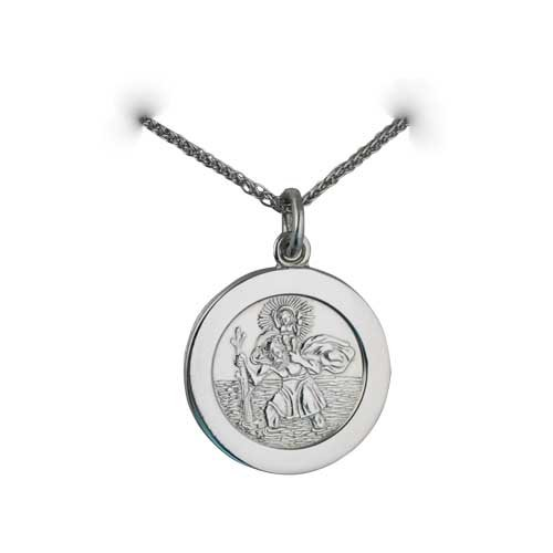 Palladium 21mm round St Christopher Pendant with car boat train plane on back with spiga Chain