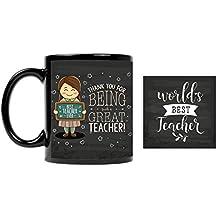 YaYa cafe Teachers Day Gifts Thank You Great Teacher Printed Ceramic Coffee Mug 330 ml (Black)
