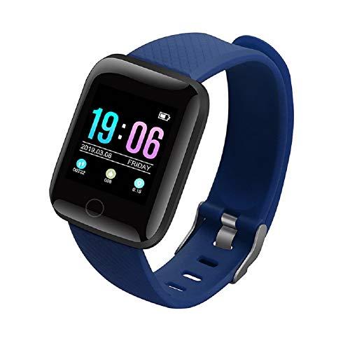 GHKJZHIntelligentes Armband 1,3-Zoll-Farbbildschirm IP67 wasserdichte Herzfrequenz-Blutdrucküberwachung wasserdichte Schrittzähler Bluetooth Sportuhr,Blue