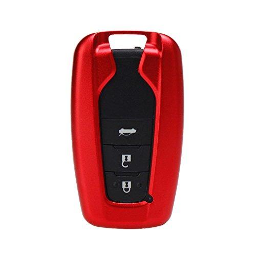 [m. jvisun] Schlüsselanhänger Toyota Schlüsselanhänger Schlüssel, Fernbedienung, passt für Toyota Camry 2018Toyota c-hr Smart Keyless-Start Stop Motor Auto-Schlüssel, Flugzeug Aluminium Schlüsselanhänger Schutz Fall + Echtes Leder Schlüsselanhänger, rot