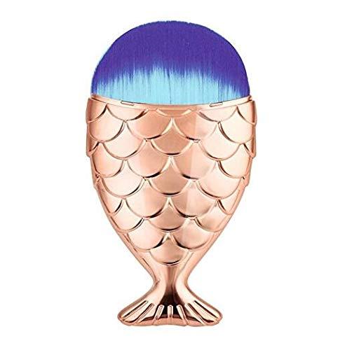 Keason Femmes Mini Mermaid Fish Scale Conception Fishtail Bottom Brush Face Poudre Libre Blush Crème Fond De Teint Correcteur Maquillage Brosses Cosmétiques (Couleur : Rose gold, Taille : 10.5cm)