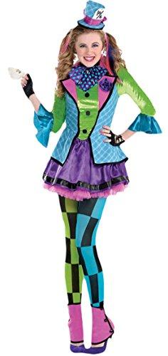Zauberclown - Mädchen Karneval Kostüm Sassy Mad Hatter, Mehrfarbig, Größe 140-152, 10-12 Jahre