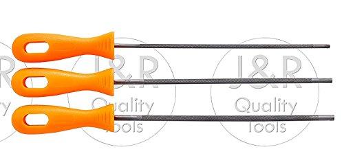 Vector Tools Juego de 3 Barras de Afilado para Cadena de Motosierra, Acero al Carbono Duradero