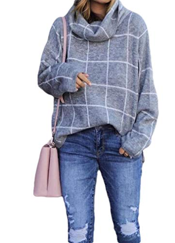 CuteRose Womens Cowl Neck Plaid Long Sleeve Split Thermal Pullover Jumper Sweaters Grey XS -