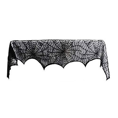 Jasnyfall Halloween Spider Dekorationen Halloween Spinnennetz Spezielle Black Lace Mantel Schal Halloween Party Horror Tür Fenster Schal Cover