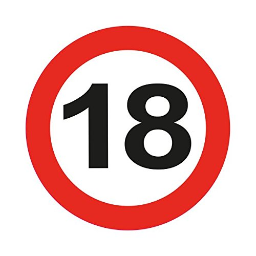 Folat Traffic Schild Geburtstag Party blinkende LED-Badge-18. Geburtstag (Schild Geburtstag Party)