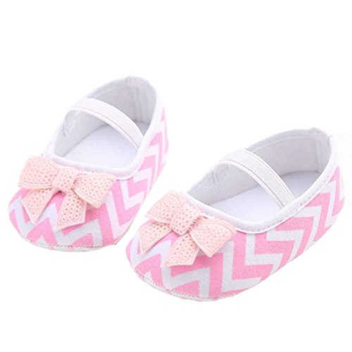 Saingace® Fille douce chaussures de bébé mignon bowknot à bande espadrille anti-dérapant bébé semelle souple,0-18mois (13, Rose) Rose