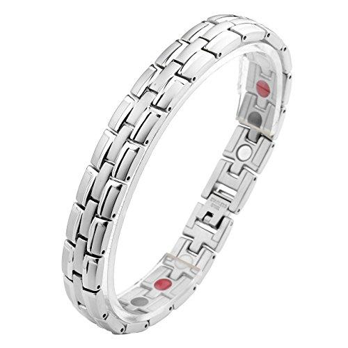 JOVIVI Schmuck Herren Glatt Magnetarmband aus Edelstahl 4-in-1 Magnettherapie Armband Magnetisches Armreif Silber 21.5cm