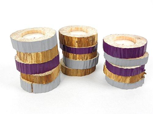 Bougeoir, photophore, fait main en bois, lot de 3 portes bougies en bois massif, pour bougies chauffe plat