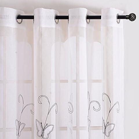 Top Finel Rideaux Voilages à oeillets Brodés Papillons Blancs de Fenêtre pour Salon Chambre Cuisine,300 x 250 cm,Blanc