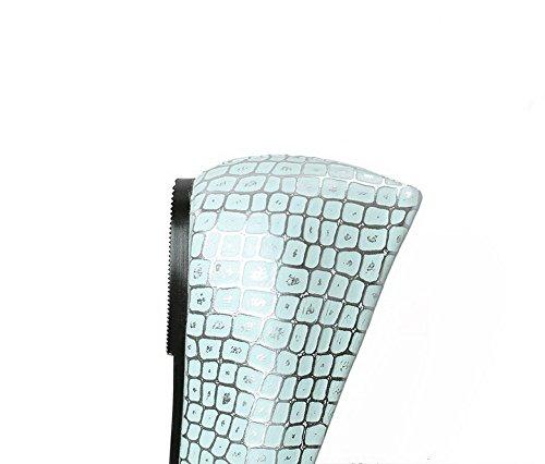 VogueZone009 Femme Texturé Matière Souple à Talon Bas Tire Carré Chaussures Légeres Bleu