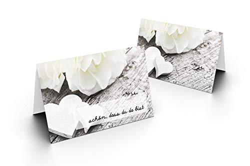 Karten24Plus 50 Tischkarten (Herz mit Weißer Rose) UV-Lack glänzend - für Hochzeit, Geburtstag, Jubiläum. als Tischdekoration!Format 8,5 x 11,2 cm