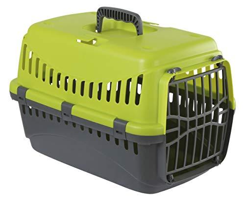 Kerbl 81347 Transportbox Expedion mit Kunststoff, 45 x 30 x 30 cm, grün/dunkelgrau - Katze Transportbox