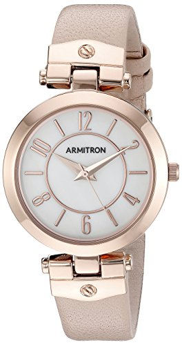 Armitron Women's 75/5338MPRGBH Rose Gold-Tone and Blush Pink Leather Strap Watch