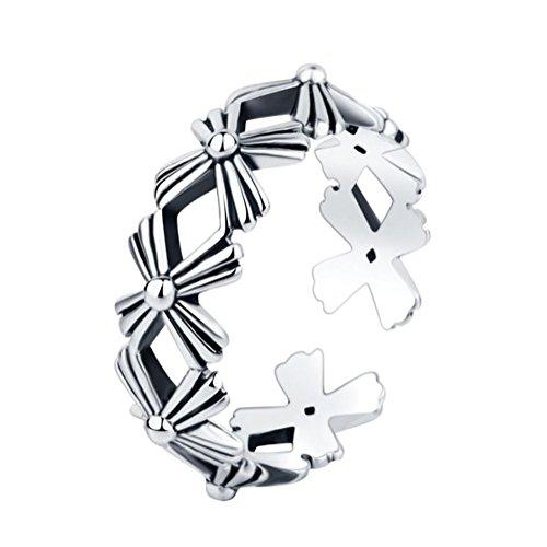 Billty Mädchen-Ringe, Retro-Geometrie, versilbert, offener Ring, zum Basteln, verstellbar, offener Ring, für Schmuck, Daten Party, 1 Stück