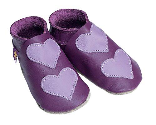 Lovehearts Grape/Mauve Starchild cuir souple chaussures de bébé (petit 0-6 mois EU 18 UK 2)
