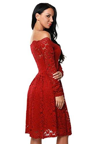 Damen Elegant Spitzenkleid Langarm Schulterfreies kleid Skaterkleid Cocktailkleid Abendkleid Rot S -