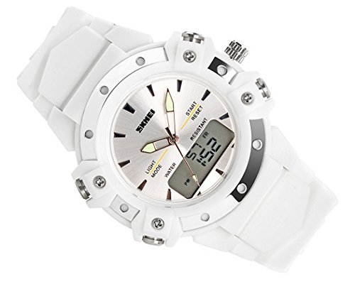 DSstyles Soldier Waterproof Digital Analog Dual Display Unisex Sport Watch - White by DS Styles