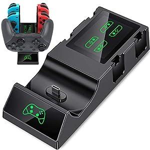 5 in 1 Ladestation für Joy-Con-Controller der Nintendo Switch, BEBONCOOL Switch Controller Ladestation mit LED-Anzeige, Switch Ladestation für Nintendo Switch Controller