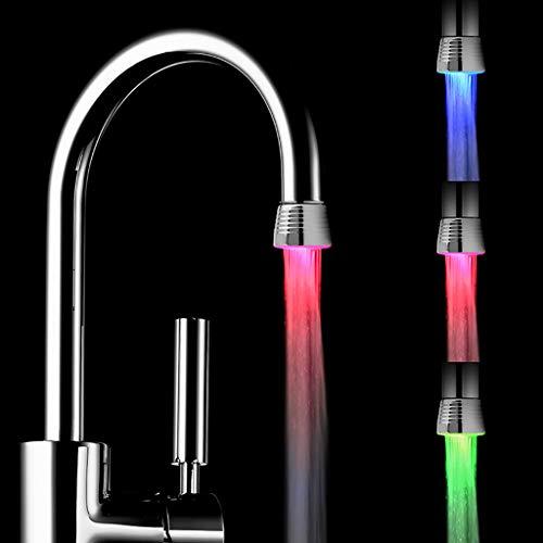 FBGood Bunter LED Wasserhahn, Mini Temperaturregelung Leuchtend Licht Wasserhahn 7-Farbwechsel Selbstversorgt Wasserhahnaufsatz für Waschbecken Badezimmer Küche Armatur (Silber) (Led Waschbecken Kopf)