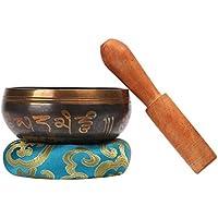 CAHAYA AHAYA Tibetische Klangschale 9,5cm Singing Bowl Klangschalen Set mit Klöppel und Klangschalenkissen Blau