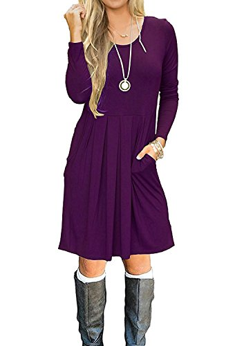Minetom Donna Vestito Abito Moda Rotondo Collo Beach Vestiti Casuale T Shirt Swing A Line Primavera Estate Mini Dress Con Tasche A Viola