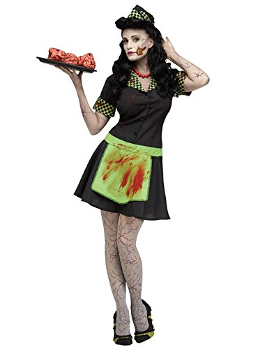 Kostüm World Fun Zombie - Fun World Costumes Zombie Diner-Bedienung Halloween-Damenkostüm schwarz-grün S / M