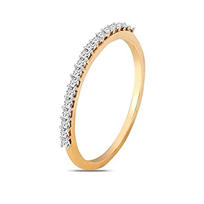 Mia by Tanishq 14KT Two Colour Gold, Diamond and Pearl Ring for Women