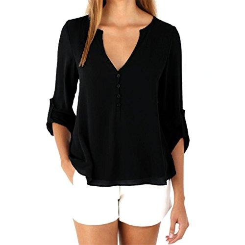 Malloom® Frauen V-Ausschnitt Chiffon Langarm Casual Hemd Bluse (S, Neu Schwarz)