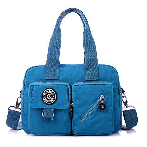 Damen Tasche umhängetasche wasserdicht Nylon umhängetasche weibliche waschlappen tragbare Handtasche sea Blue -