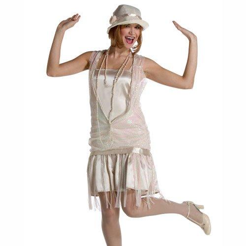 Gatsby Girl Kostüm für Erwachsene, elfenbein, (UK 6-10) (Green Lantern Kostüme Uk)
