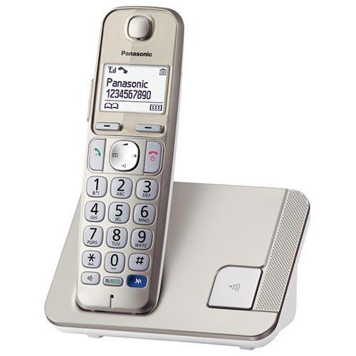 """Panasonic KX-TGE210SPN - Teléfono fijo digital (DECT Single, especial para personas mayores, manos libres, LCD 1.8"""", memoria de 150 números, bloqueo llamadas no deseadas), gris"""