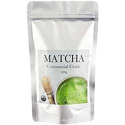 MATCHA TEE | Ceremonial Grade ✮ 100g ✮ Matcha Pulver | in Premium Qualität | Ideal als Heißgetränk oder als Zutat in Speisen | Der gesunde Energiekick
