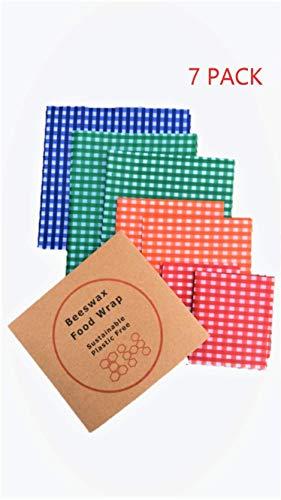 Mega 7 Stück Bienenwachs Lebensmittelfolien. Farbkodierte Frischhaltefolie Alternative inkl. 2x klein 2x mittel 2x groß 1x extra groß in jeder Packung