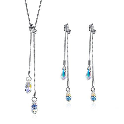 GoSparking Aurora Borealis lacrima di cristallo 18K oro bianco placcato in lega di orecchini e del pendente ? regolato con il cristallo austriaco per le donne
