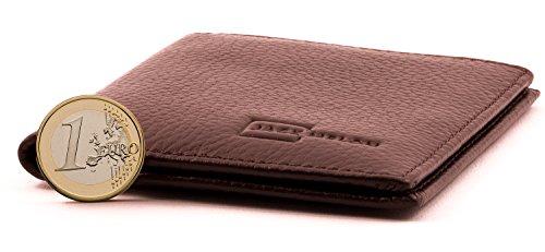 Herren Portemonnaie aus Echt-Leder ohne Münzfach in Dunkel-Braun mit RFID Schutz | Ein Classic Slim Wallet von Jack Melon