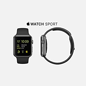 Apple Watch Sport 42mm Space Gray Case with Black Sport Band MJ3T2