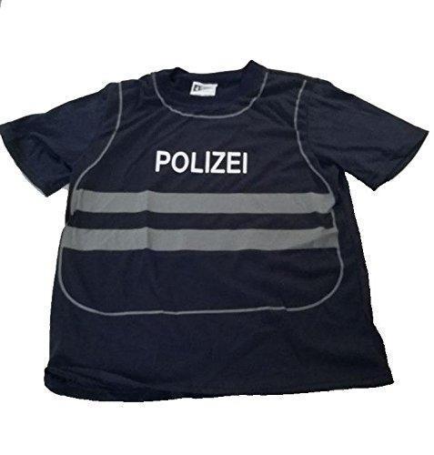Foxxeo 40224I T-Shirt Weste Polizei Polizist für Kinder Uniform Kostüm Spieleshirt Kinderkostüm Gr. 86 - 140, Größe:110/116
